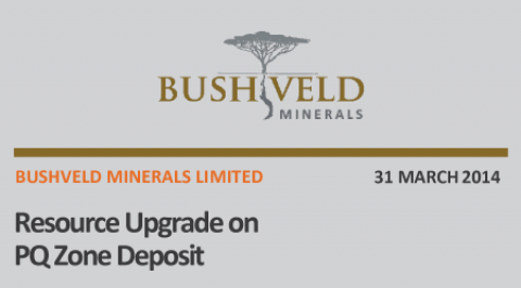 Bushveld Minerals Resource Upgrade on P-Q Zone Deposit – March 2014
