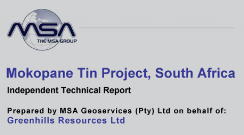 Mokopane Tin Project Competent Person's Report – September 2011