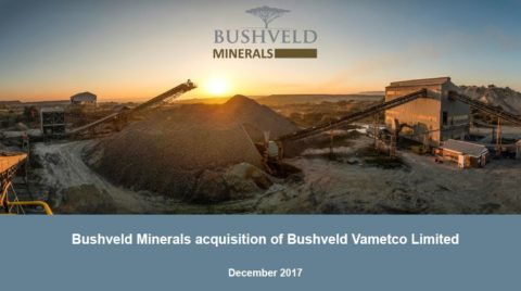 Bushveld Minerals acquisition of Bushveld Vametco Limited – December 2017