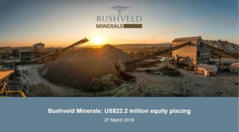 Bushveld Minerals: US$22.2 million equity placing
